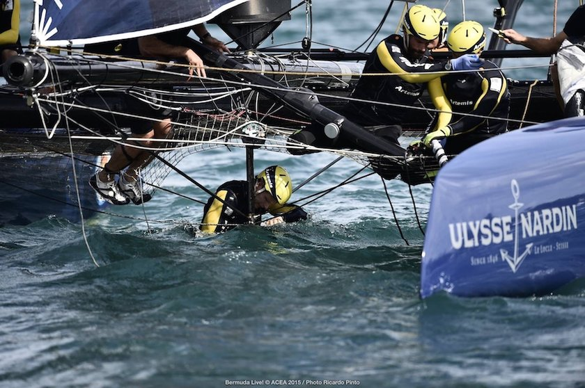 Repairing Artemis After Umpire Crash at America's Cup World Series Bermuda