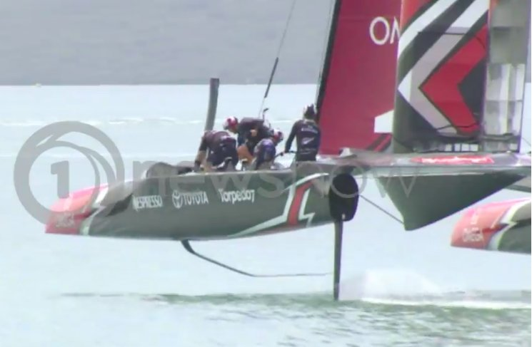 Inverted gull wing board on NZL's America's Cup Class yacht.