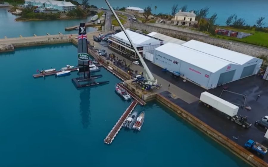 Aerial view of Bermuda base America's Cup challenger Land Rover BAR, led by Ben Ainslie.