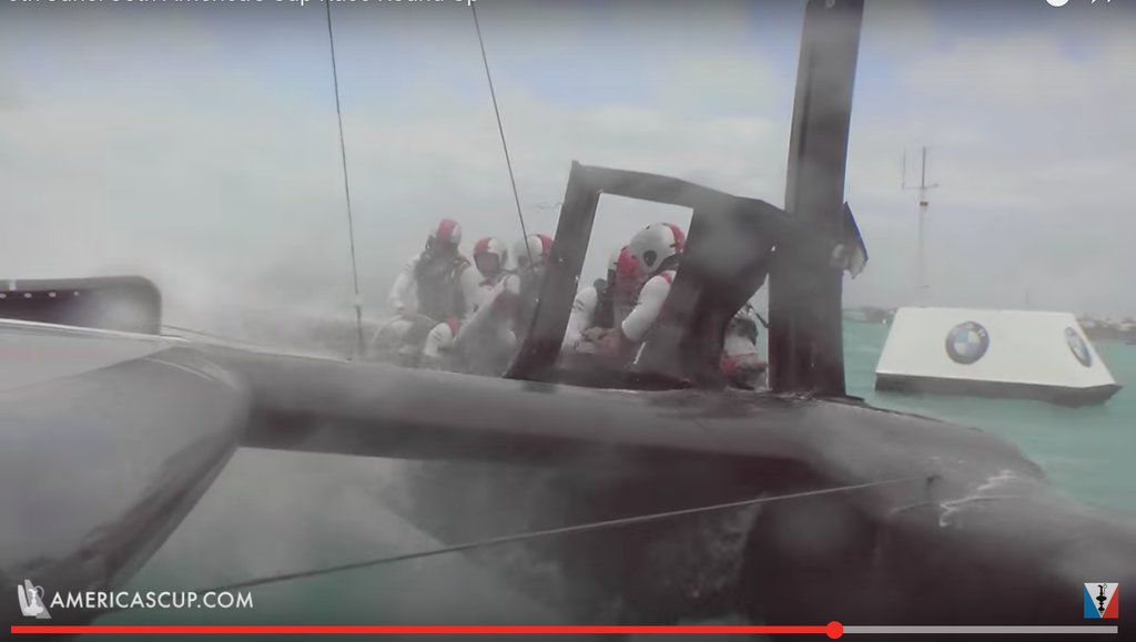 Team Japan suffered damage in strong winds in the America's Cup challenger semi-finals - Image ACTV Video