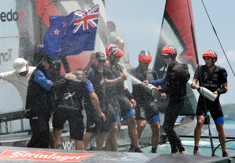 Kiwis Celebrate Winning the 2017 America's Cup
