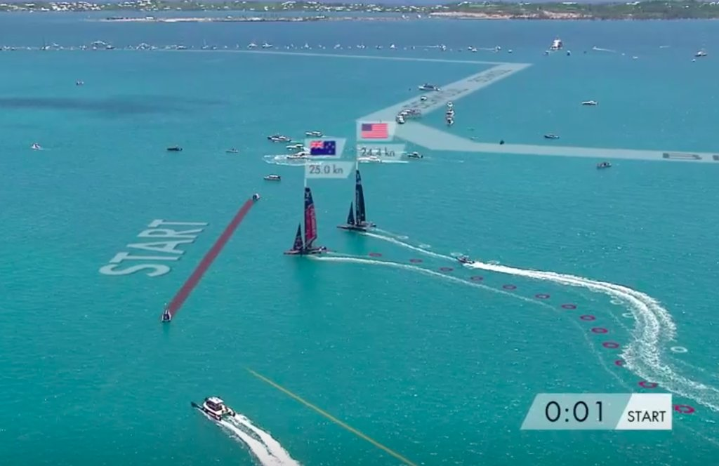 Oracle helmsman Jimmy Spithill loses speed turning upwind in pre-start of Race 7 in the 2017 America's Cup Match